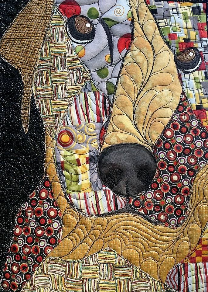 Yellow lab dog art quilt..... MJKL original pinner Ruth Lovell Oh, this one II'd take in a second to do if I could.