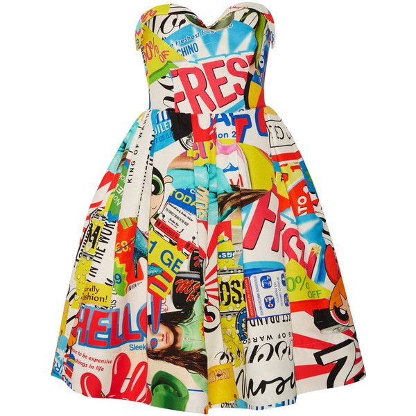 Moschino Strapless printed cotton-blend faille dress found on Polyvore featuring dresses, blue, multicolor dress, pleated dress, red pleated dress, moschino dress and moschino