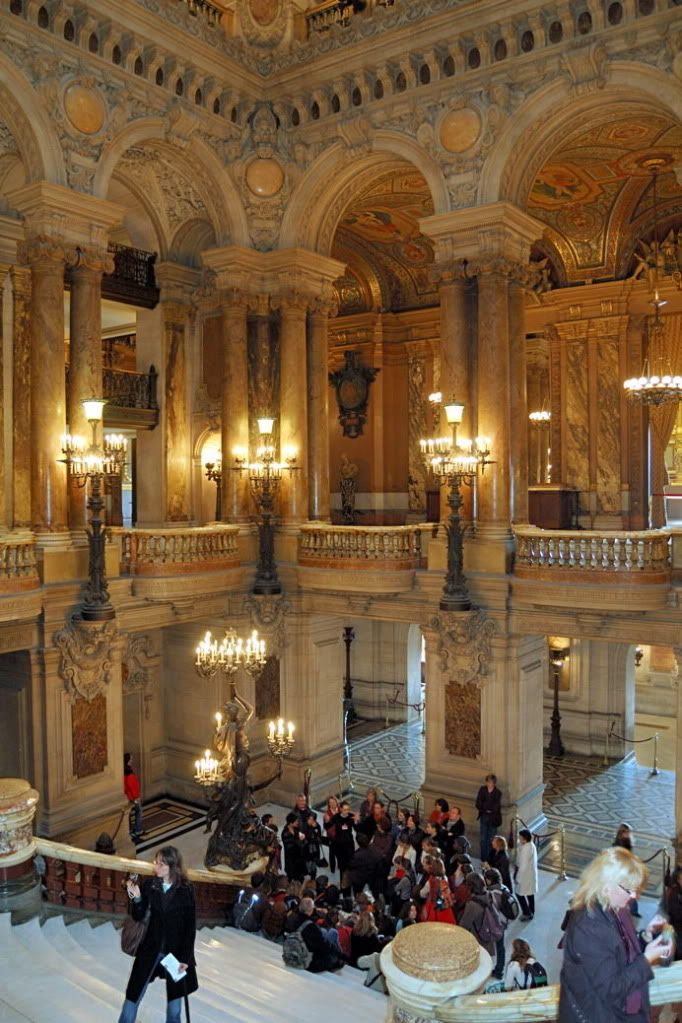 Staircase in the Opera House, Paris. Not allowed to go here because I will