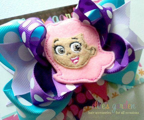 Ellie S Garden Via Etsy Bubble Guppies Molly Felt Center Boutique Style Hair Bow