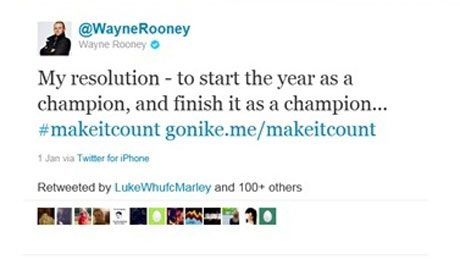"Nike becomes first UK company to have Twitter campaign banned.  Wayne Rooney and Jack Wilshere tweets broke rules for not clearly stating they were adverts.    A tweet posted by Rooney, who has 4.37m followers, said: ""My resolution — to start the year as a champion, and finish it as a champion... #makeitcount gonike.me/makeitcount"""