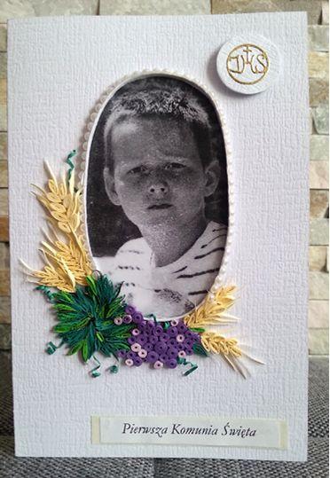 Wykonała: Graga. Tą kartkę zrobiłam  dla mojego wnuczka Konrada. ( kartka własnoręcznie zrobiona  przez babcię będzie dla niego szczególną pamiątką).