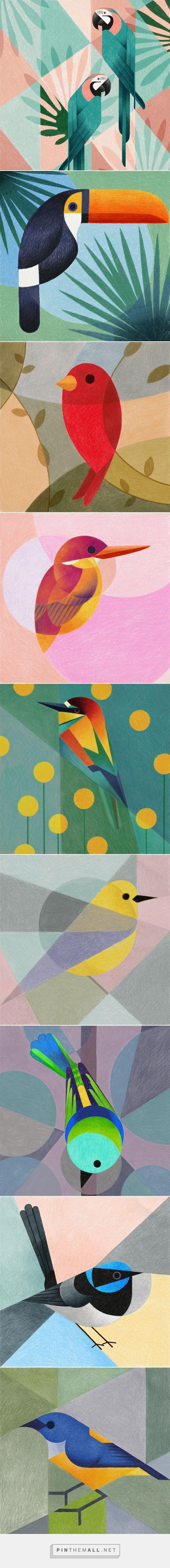 Geometric birds (Procreate-iPad Pro) by Samy Halim #illustration #birds