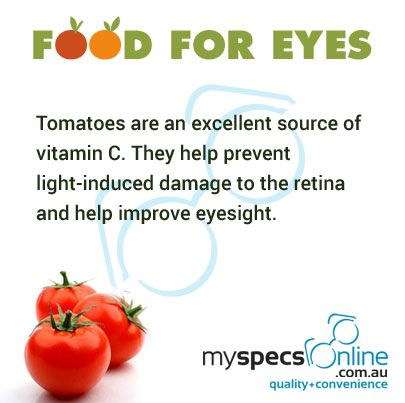 Tomatoes is good source of vitamin C. They prevent light-induced damage to the retina and help improve eyesight.