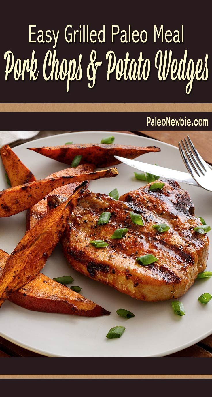 Simple and quick paleo and gluten-free grilling recipe for pork chops and sweet potato wedges with a really easy honey-mustard sauce for basting. #paleo #glutenfree