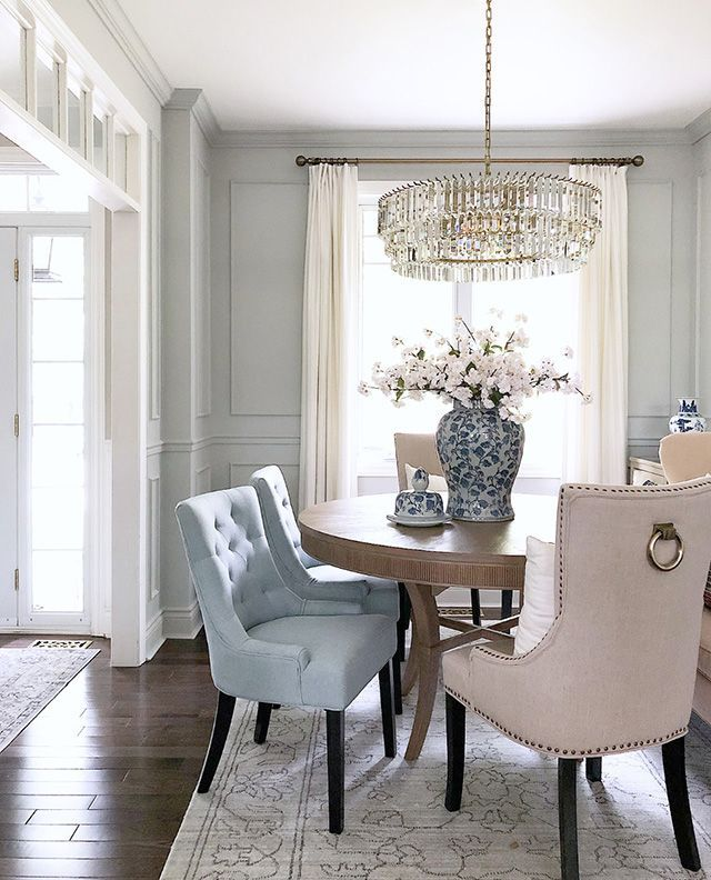 Dining Room With Beautiful Light Blue Chairs Wall Moldings And Crystal Chandelier Diningroom Consolet Blue Dining Room Walls Dining Room Blue Dining Chairs