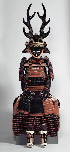 Nimai-Dō Gusoku Armor with Dark Blue and Red Lacing, Edo period, 18th century. Iron, wood, leather, gold, and lacquer; H. of helmet bowl: 5 1/2 in. (13.9 cm); H. of cuirass: 13 3/4 in. (35 cm) Okazaki City Museum, Aichi Prefecture