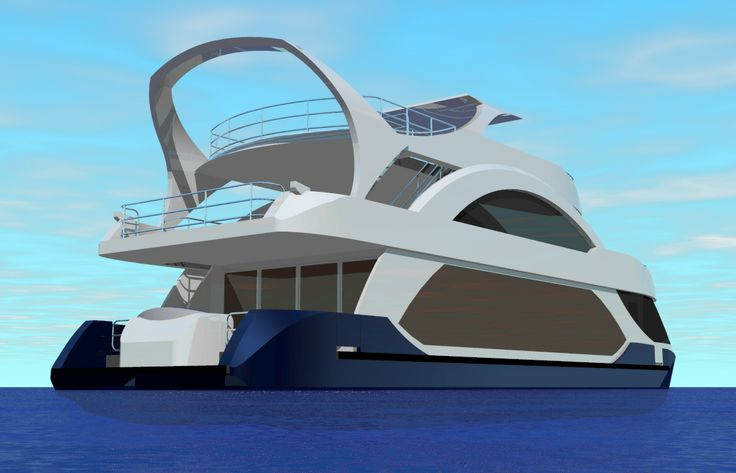 houseboats for sale | Renderings of Desert Shore's latest luxury houseboat design, Fiji X: