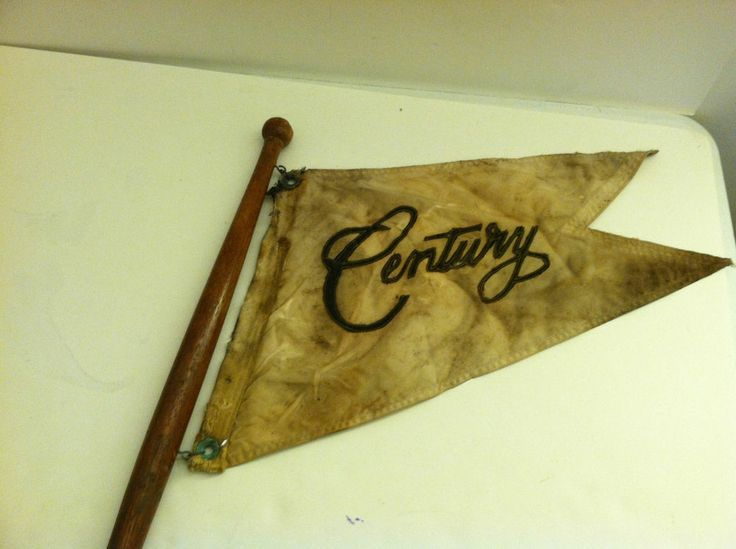 "VINTAGE ""CENTURY"" BOAT FLAG ON WOODEN FLAG POLE NO RESERVE FREE SHIPPING"