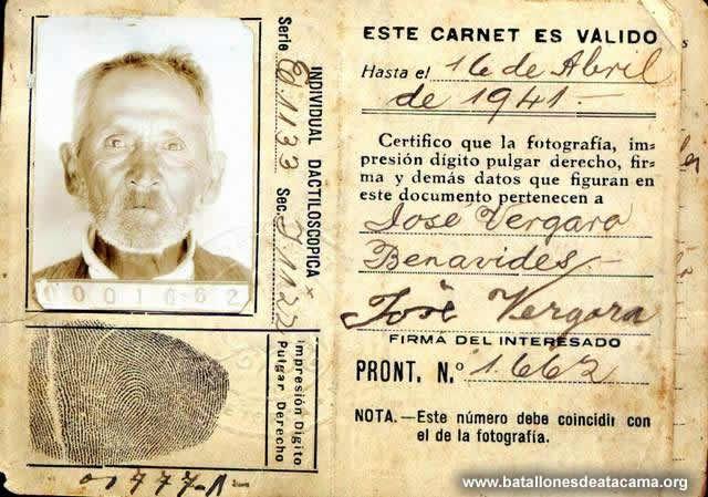 José Vergara Benavides (1861-1937) Soldado del Batallón Cívico Movilizado Atacama. Nació en Puchuncaví, en su juventud se trasladó al norte en busca de trabajo, tiempo en que estalla la guerra. El 18 de Julio de 1880 se enrola voluntariamente en la 1ª Compañía del 2º Batallón, participa en la batalla de Chorrillos, donde cae herido de bala en una pierna. Recibe una medalla de plata y una barra de plata.