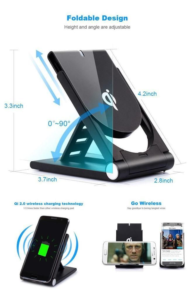 Wireless Fast Charger Qi Charging Cordless For Iphone 8 Plus X Note Pad + Stand #Poloda