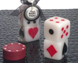 poker chip candle favors | Dice Theme Vegas Candle Favors | Las Vegas Themed Wedding Favors ...