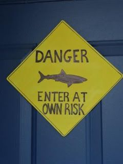 DIY Shark Party Decor: Warning Signs and Land Sharks by Because I Said So (and Other Mommyisms)