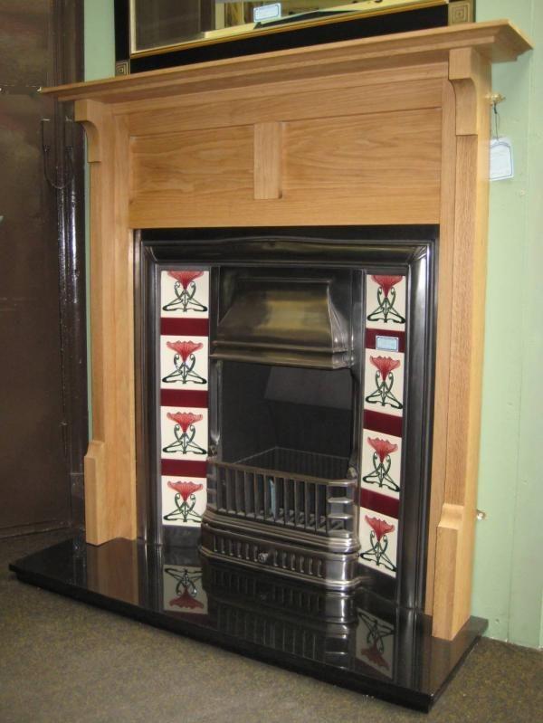 Oak fireplace surround by Charles Rennie Mackintosh