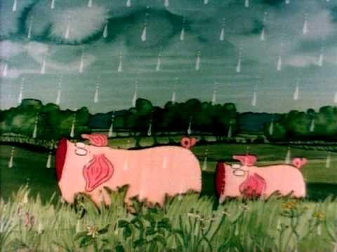 """Es gibt viele Arten von """"Regen"""": Platzregen, Dauerregen, Sprühregen, Nieselregen und viele andere. Frederick kennt eine Menge davon. Für Piggeldy heißt das, ..."""