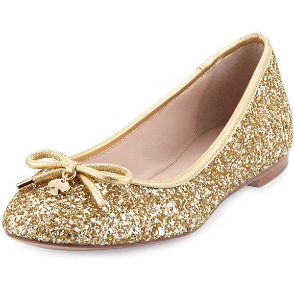 kate spade new york willa glitter ballerina flat ($210) ❤ liked on Polyvore featuring shoes, flats, gold, gold flat shoes, kate spade flats, ballet flat shoes, ballet shoes and bow flats