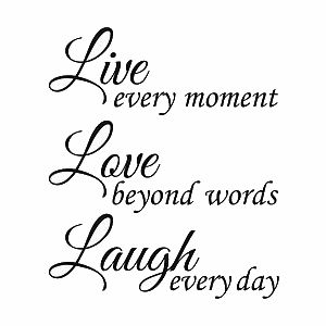 Add some inspiring advice to the walls of your home with this 'Live Love Laugh' vinyl wall art. This wall art, featuring black text on a clear vinyl background, sticks to any smooth surface and looks