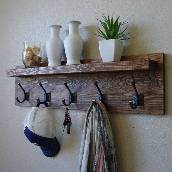Mason Rustic Modern 5 Hanger Hook Coat Hat Rack with by KeoDecor on etsy - hand in mud room at entrance