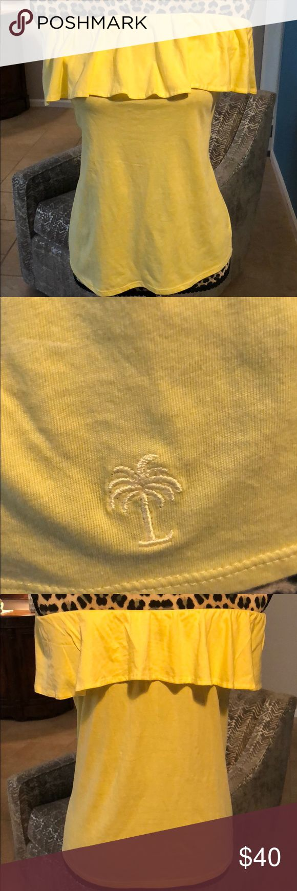 🍍 Lilly Pulitzer Wiley Ruffle Tube Top Yellow 🍍 Wiley Ruffle Tube Top - Yellow  We all need a cotton tube top in our closet because, well - tan lines are the worst.  Wiley is the perfect summer tube top.  Beautifully bright colors and soft materials - is there anything better?  Solid Tube Top with Flounce Detail with Tonal Logo.  Embroidery at Helm. Pima Cotton Jersey (100% Cotton). Lilly Pulitzer Tops