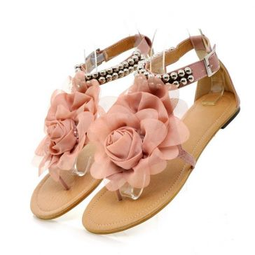 Flats with Satin Flower Beading Leatherette Flat Heel Sandals - Sandals & Flip Flops - Shoes - Women's Style Free Shipping