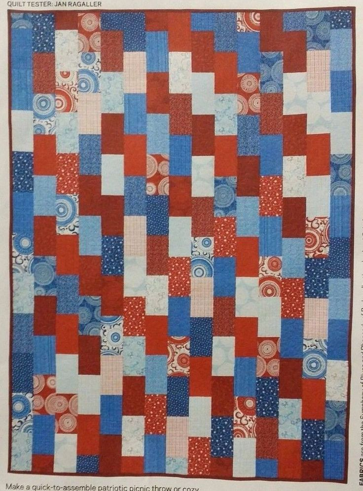 Quilting Kit Fabric & Pattern Patriotic Bricks Twin Lap Quilt Beginner Sewing Red white blue ...