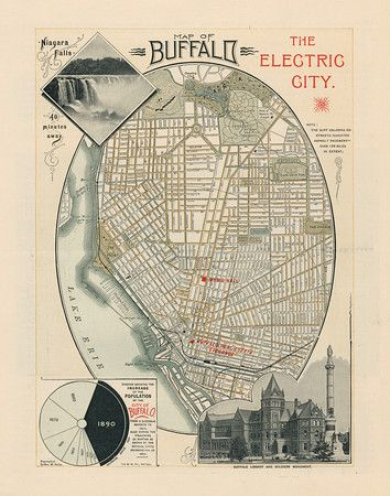 Vintage map of Buffalo, NY from 1890.  Looks great hanging in my family room.