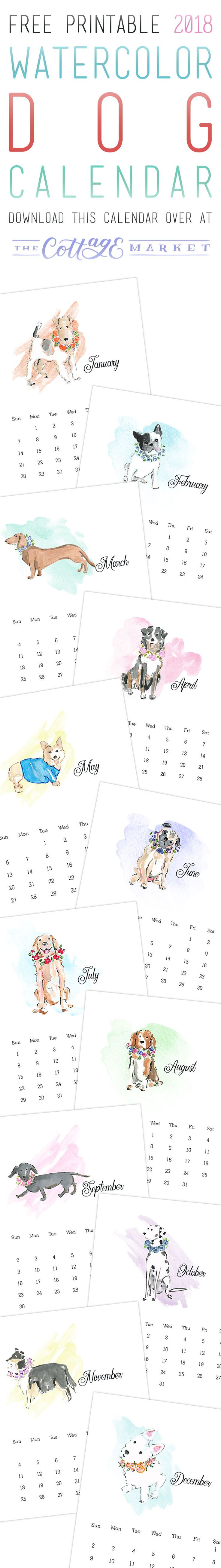 Free Printable 2018 Watercolor Dog Calendar