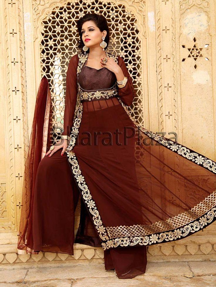 Pleasing brown color #Georgette #Kameez with golden zari, kundan work. Item code : SLKD814  http://www.bharatplaza.com/new-arrivals/palazzo-suits.html