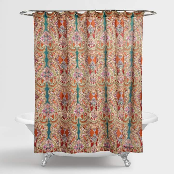 Cost Plus World Market Paisley Venice Shower Curtain Paisley Shower Curtain Red Shower Curtains Boho Shower Curtain