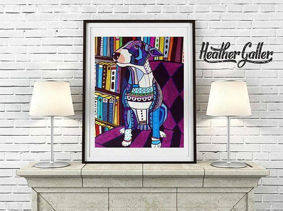 Miniature Bull Terrier art dog Art Print Poster by Heather Galler - Heather Galler Modern Abstract Folk Pop Art (HG677)