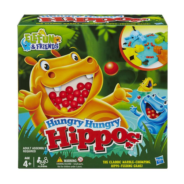 The frenzied, marble-chomping game, features FOUR, brightly-colored Hungry Hippos that want to munch a bunch of marbles!The faster you press their tails, the more marbles they try to chomp. If your hi