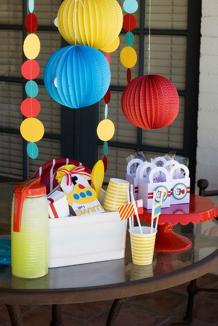 red blue and yellow color palette for a party. Thinking of incorporating some of these ideas into our Clifford birthday party.
