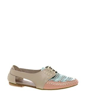 asks jukebox Leather Flat Shoes