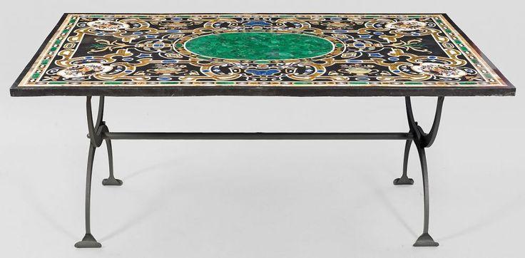 gro er pietra dura tisch schwarzer marmor mit einlagen aus unterschiedlichen marmorsorten sowie. Black Bedroom Furniture Sets. Home Design Ideas