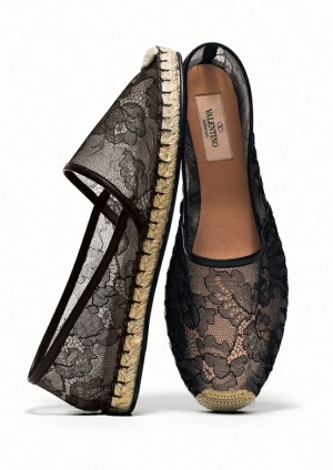 Valentino black lace espadrille