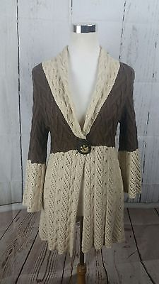 Anthropologie One Girl Who Cable Knit Sweater Jacket Sz S Cream & Brown Soft