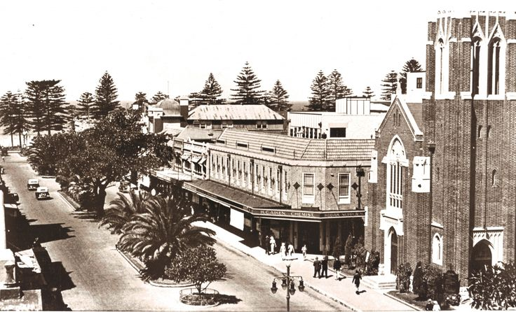 St Matthews Church at 1 Darley Rd,corner of the Corso,Manly,in the Northern Beaches region of Sydney (year unknown).