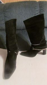 Sexy-SKS-Ladies-Black-Boots-with-Bling-size-9-1-2-M