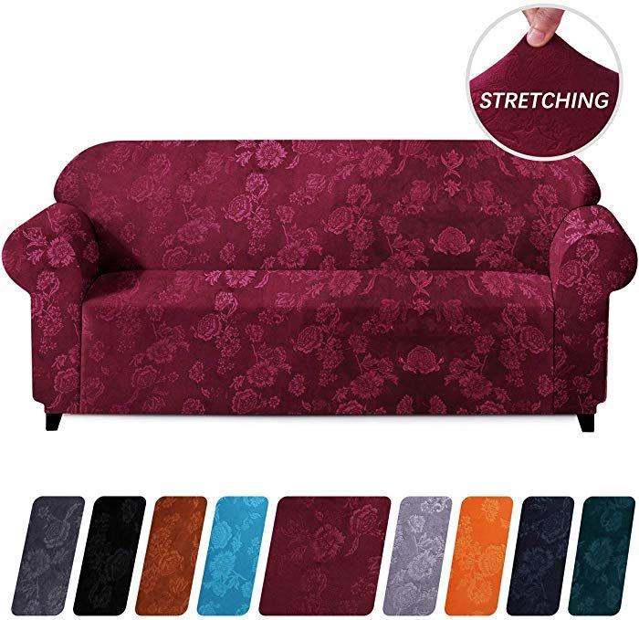 Colorxy 1 Piece Velvet Stretch Sofa Cover Machine Washable