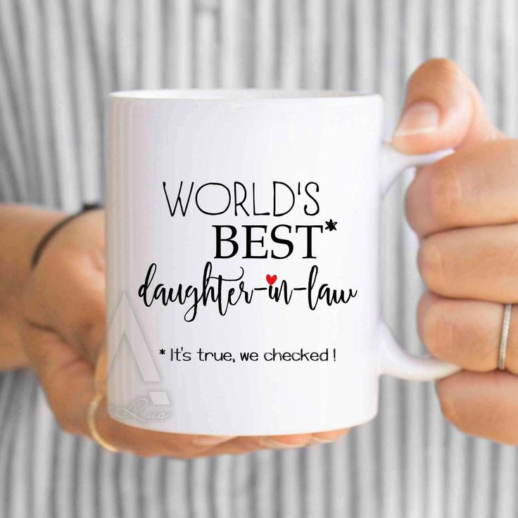 """gifts for daughter in law, gifts for inlaws """"World's best daughter in law"""" coffee mug, birthday gift, gift from mother of bride MU586 by artRuss on Etsy"""