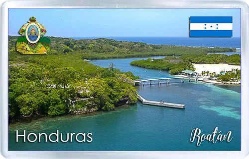 Acrylic Fridge Magnet: Honduras. Roatan. Colony of the Bay Islands
