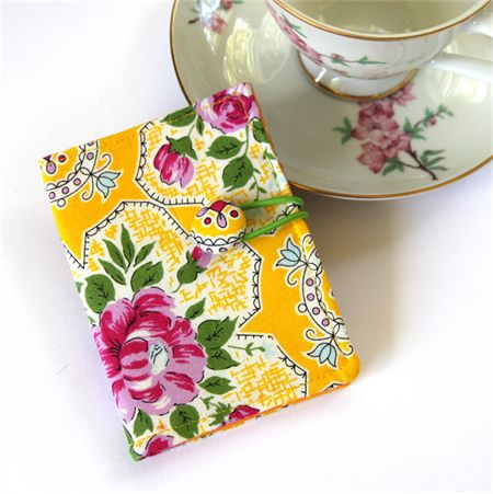 Tea Bag Wallet / Travel Tea Purse - Pink Flowers on Yellow