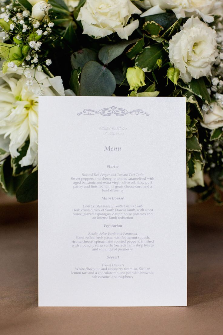 Traditional White & Grey Menu Card - Image by Mike Garrard - Classic White Wedding At Hedsor House Buckinghamshire With Bride In Augusta Jones Gown With Rachel Simpson Shoes And Bridesmaids In Antique Rose Maids To Measure Gowns With Groom In Bespoke Suit From Gieves And Hawkes Savile Row