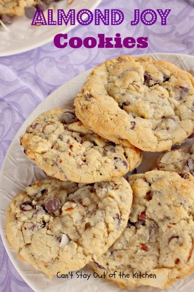 Almond Joy Cookies - sensational cookie absolutely LOADED with coconut chocolatechips and almonds! via Can't Stay Out of the Kitchen