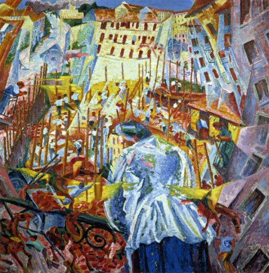 Futurism Art Movement - 'The street enters the house' Umberto Boccioni painting 1911