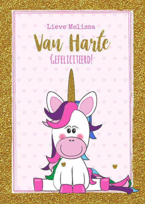 Verjaardag Trendy Gouden Glitter Kaart Met Vrolijke Unicorn