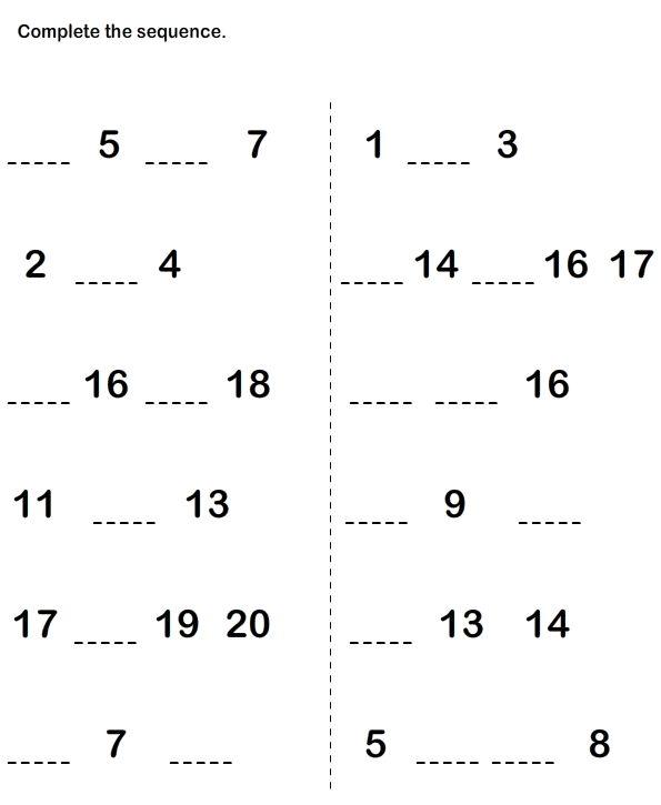 Math Worksheets, Kindergarten Worksheets, What Number is Missing Worksheets