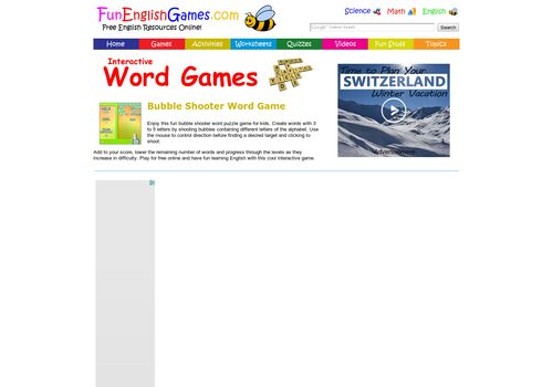 Fun Bubble Shooter Word Puzzle Game for Kids - Play Free Online