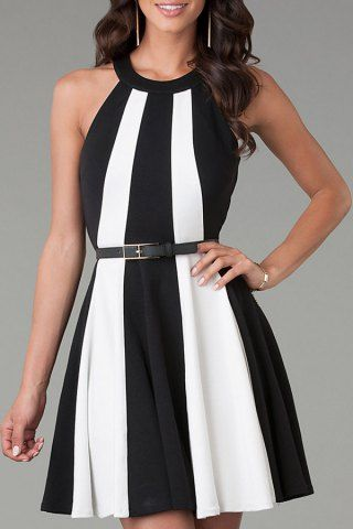 White Black Sleeveless Color Block Flare Dress Summer Dresses | RoseGal.com Mobile