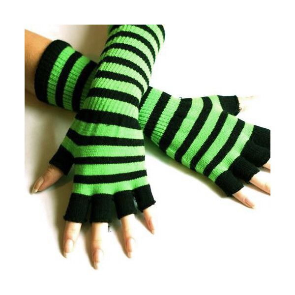 Black and Neon Green Striped Long Emo Fingerless Gloves (30 BRL) ❤ liked on Polyvore featuring accessories, gloves, striped gloves, long gloves, striped fingerless gloves, neon green gloves and long fingerless gloves
